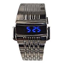Full Steel LED Digital Men Sports Watch 2 Conception Military Wrist Watch - Black