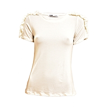 White Short Sleeved Women's Top With Lace On The Shoulder