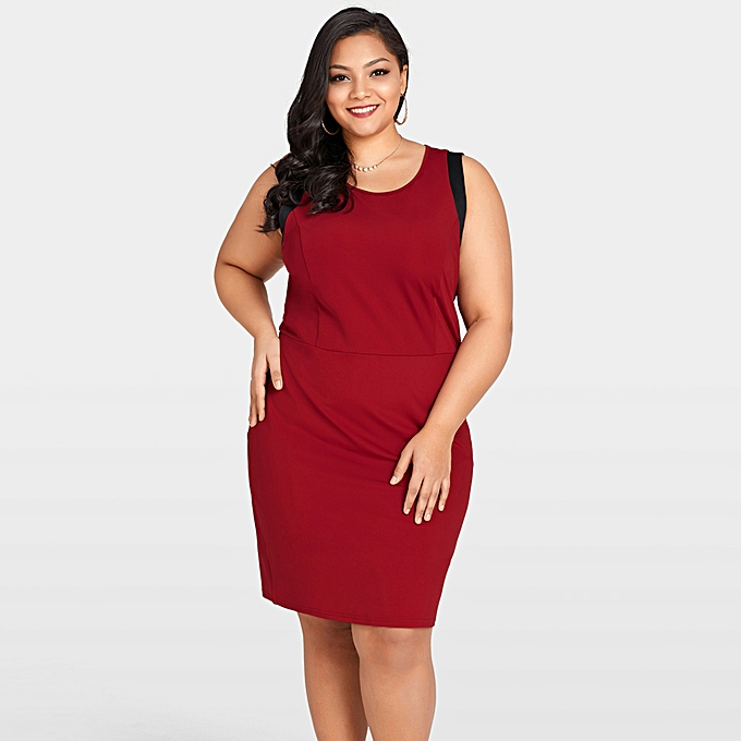 cd9c672b4c9d4 Sexy Women Plus Size Sleeveless Dress Color Splice O-Neck Zipper Elegant  Party Straight Mini