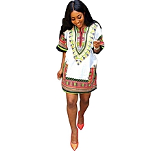 Fohting  Women African Print Dress Casual Straight Print Above Knee Mini Dresses  -White