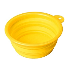 Dog Cat Pet Silicone Collapsible Travel Feeding Bowl Water Dish Feeder YE-Yellow