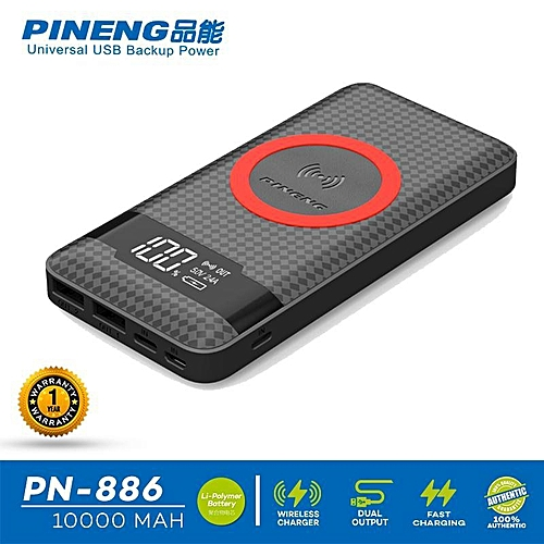 [Special Promotion] Pineng PN-886 10000mAh 2 Outputs & 3 Inputs Wireless Charger Powerbank 2017 New Model PN951 PN983 PN962 PN961 PN888 PN886 Android IOS Apple Type C BGmall