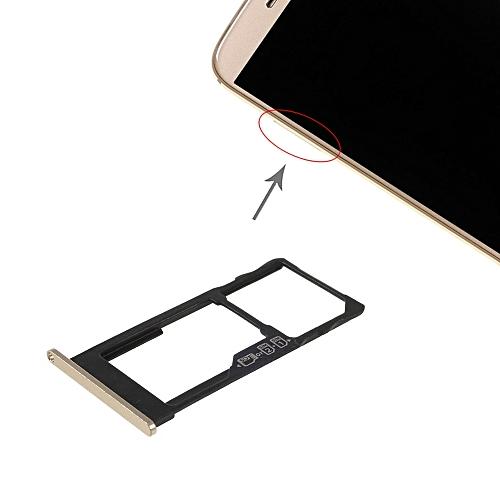 SIM Card Tray + SIM Card Tray / Micro SD Card Tray for Motorola Moto M  XT1662 XT1663 (Gold)