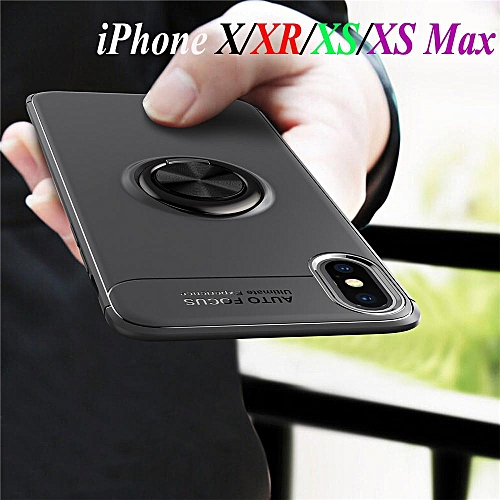 new products 04893 a839d Ring Case For IPhone XS Max Car Holder Stand Shockproof Silicone Protective  Phone Cover (Blue)