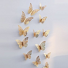 Elegant Home Decoration 12 Pcs 3D Hollow Wall Stickers Butterfly Fridge For Home Decoration New-Gold