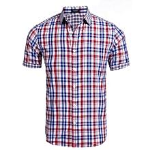 Men Short Sleeve Button Down Collar Plaid Casual Shirt ( Red )