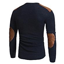Xiuxingzi_Man's Fashion Casual Round Neck Patchwork Men's Sweaters Tops Blouse