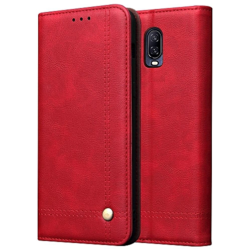 huge selection of 5ba34 af5cc Windcase Retro Leather Magnetic Card Holder Case Flip Stand Cover for  OnePlus 6T (As Shown)
