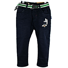 Boys Soft Khaki with Warm Inner Lining and Matching Belt - Navy Blue