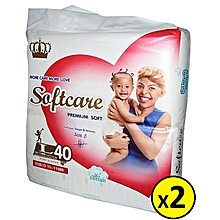 Premium Diapers Large 9-15 Kgs - Count 40 (2 Pack )