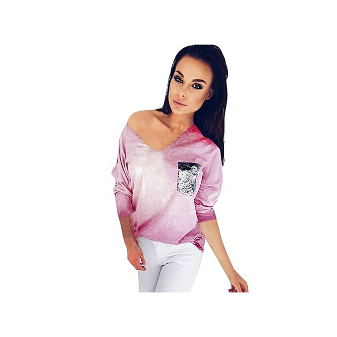 3f941d5c6ef0 Hiaojbk Store Women s Autumn V Neck Loose Long Sleeve Shirt Casual Blouse  Tops T-Shirt