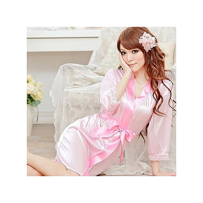 02c09b917e ... Women Fashion Fantastic Sexy Wild Temptation Lace Sleepwear Bathrobe + G -string-Pink ...