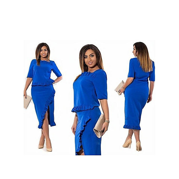 ec5205e42ae Yingwoo Hot Sale 2017 New Arrival Women Elegant Half Sleeve Vintage Two Pis  Dress Sexy V-neck Patchwork Plus Size Party Midi Dress-blue