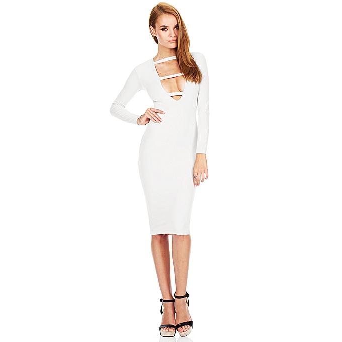 064717ed597 Fashion Sexy Women Dress Deep V-Neck Front Strap Long Sleeve Bodycon Knee- Length