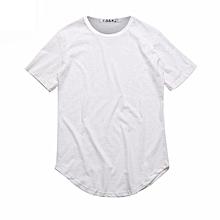 Summer Street Style Curved Hem Long T-shirt (White)