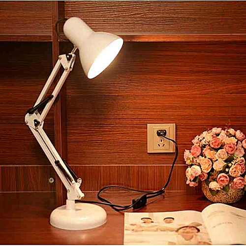 Generic Long Swing Arm Adjule Clic Desk Lamps E27 Led With Switch Table Lamp For Office Reading Night Light Bedside Home White