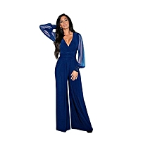 Stylish Ladies Jumpsuit-Blue-V neck with Clear Sleeves