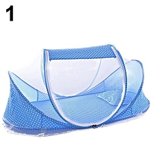 4 In 1 Foldable Mosquito Net Baby Newborn Polka Dot Travel Bed Crib Tent Gift-Blue