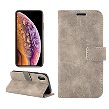 Sheep Bar Material Horizontal Flip PU Leather Case for iPhone XS, with Holder & Card Slot & Wallet & Photo Frame (Grey)