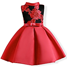 2b62b5d47 Embroidered Flower Dresses For Kids Girls Party Pageant Flower Girl  Princess Dress - Red