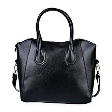 Adjustable Shoulder Handbag With Patchwork - Black