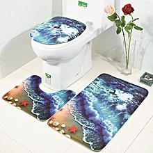 Bathroom Rug Mats Set 3 Piece 3D Waves Printed Flannel Soft Shower Bath Toilet Rugs Floor Mat