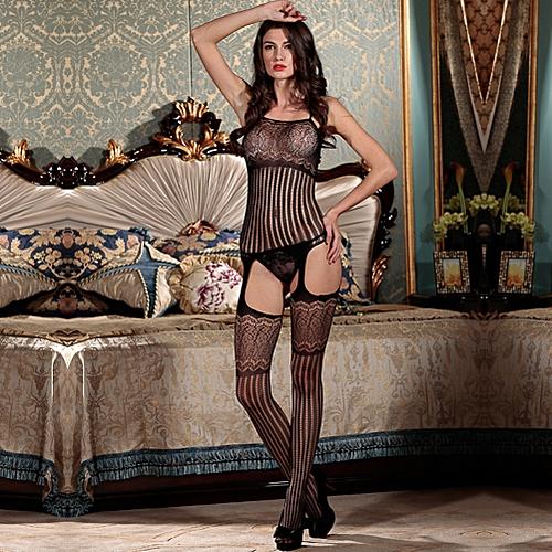 68a4f7834 Generic Sexy Women Lingerie Body Stocking Stripe Mesh Hollow Out Cutout  Erotic Bodysuit Sleepwear Nightwear Black