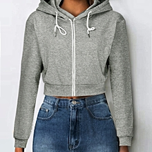 Women Stylish Solid Crop Hoodie Zipper Sweatshirt Zip Cosy Hoody Dance Ladies