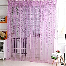 100cm X 200cm Home Tree Glass Willow Curtain Tulle Room Decor Sheer Panel Drapes Purple