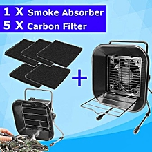 220V Solder Smoke Fume Absorber Extractor Fan + 5 Carbon Sponge Filter Sheets