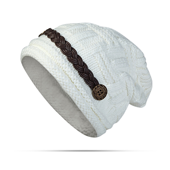 Women Girl Crochet Strap Knitting Caps Button Decorative Baggy Beanie Hat 03d250fc1fc8