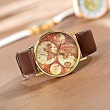 Fashion World Map Globe Leather Alloy Unisex vintage Style  AnalogQuartz watches Wristwatch-Brown