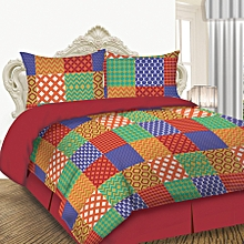 4 Piece Comforter Set - Queen Size - Patchwork Red