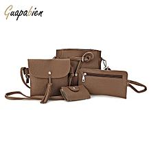 Guapabien 4pcs Shoulder Bag Card Holder Women Handbag
