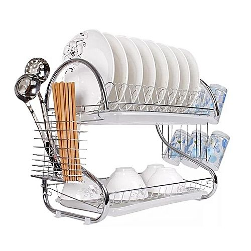 2 tier Dish Rack Kitchen Utensils Organizer-Silver