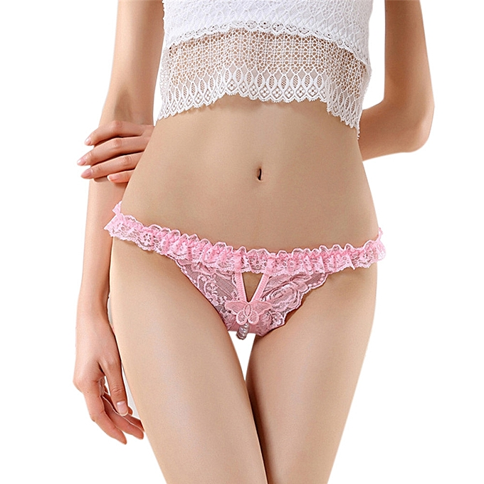 Sexy Lingerie Lace Open Crotch Underwear Pearl Thong Culotte Womens Panties Pk Pink