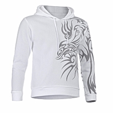 Men's Autumn Winter Printed Long Sleeve Hooded Sweatshirt Tops Blouse WH/L- White