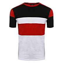 Mens Casual O-Neck Short Sleeve Patchwork Pullover Basic T-Shirt-Red