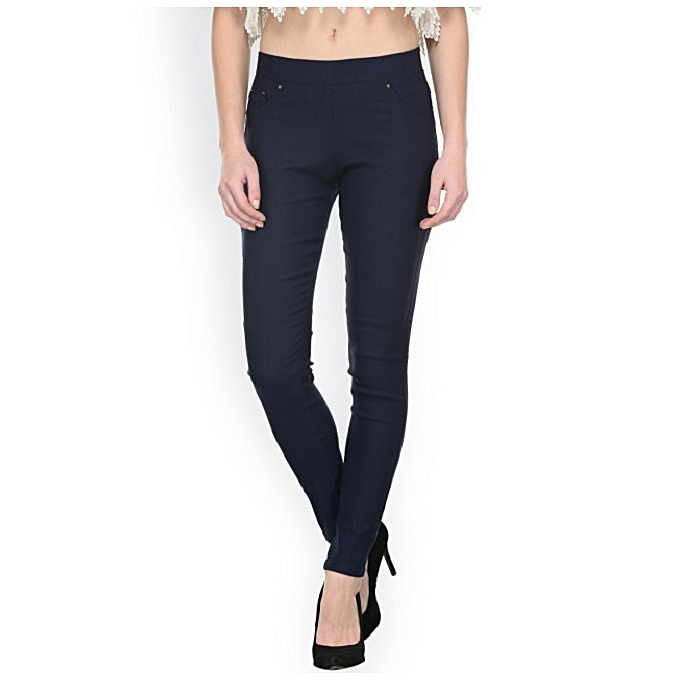 942a1d6f2362a Fashion Women Navy Blue Slim-Fit Stretch Twill Full Length Jeggings ...