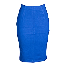 Blue Official Pencil Skirt With A Slit.