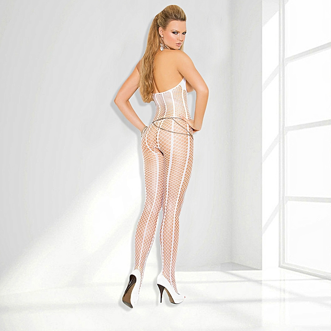 180e4be394 ... Sexy Women Sheer Stretch Striped Fishnet Halter Body Stocking Open Bust  Crotch Bodysuit Lingerie Nightwear White ...