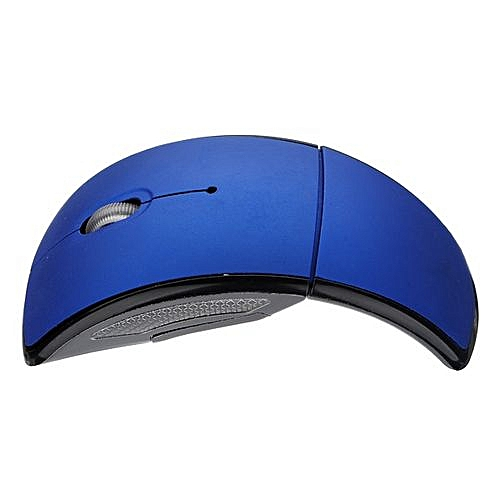 48d5537cc8f Generic Optical Foldable Folding Arc Wireless Mouse And USB 2.4G Snap-in  Receiver For Laptop Blue