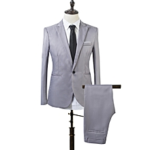 Men Slim Fit Business Leisure One Button Formal Two-Piece Suit for Groom Wedding-Grey