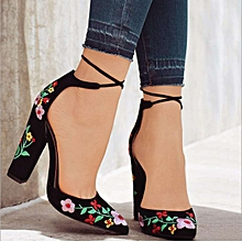 Ladies Embroidered Chunky Heels High Heel Shoes - Black
