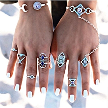 bluerdream-8pcs/Set Women Bohemian Vintage Silver Stack Rings Above Knuckle Blue Rings Set-Silver