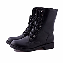 bluerdream-Women Men Lace Up Flat Biker Military Army Combat Black Boots Shoes 37-Black37 37-42
