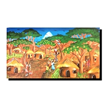African village wall painting - 73 by 40.5 cms - multicolor
