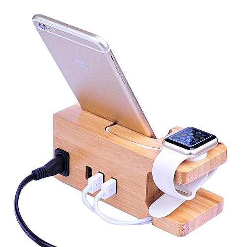 Multi-function Carbonized Bamboo 3 USB Ports Charging Dock Holders Stand  Cradle Bracket, US Plug, AC 110-220V, For