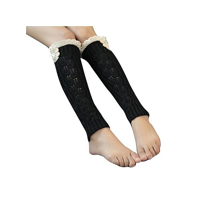 9f0f7c3d0bf Winter Women Lace Crochet Knit Leg Warmer Boot Socks Toppers Cuffs Black ...