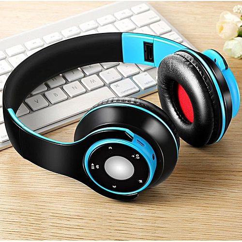 Earphone headphones Bluetooth 4 0 Over-ear Stereo headsets Compatible with  Samsung iPhone, iPad, Cellphone, PC, TV,and Laptop (blue)
